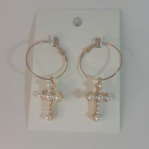 Faux pearl gold tone cross earrings